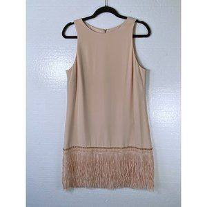 Tahari Size 10 Nude Pink Tassel Fringe Shift Dress
